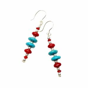 NWT ShanRiLa Turquoise & Red Stacked Earrings